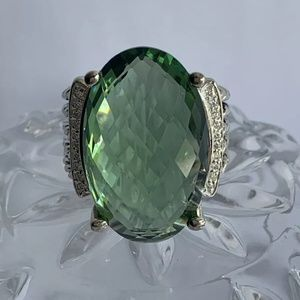 ❗Sale!❗David Yurman Prasiolite & Diamond Ring